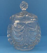 Antique Fostoria EAPG Heavy Drape Pattern Glass Covered Sugar