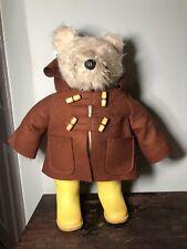 Vintage 1972 Gabrielle Paddington Bear  Brown Coat, Yellow Wellies Dunlop Rare!