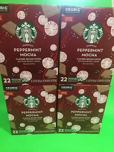 4 Starbucks Peppermint Mocha K Cups Pods Limited Edition Medium Roast exp 5/2021