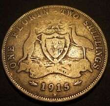 1915 H Australia 2/- Two Shillings One Florin #15h-F-01