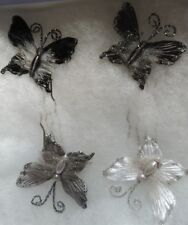 Fabric Glitter Butterfly Hair Pins Set Of 4 Handmade Only Set Available