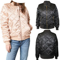 Womens Quilted bomber Jacket Ladies Winter Warm Coat Puffer jackt 8-14