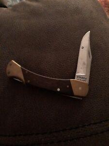 Schrade + USA LB7 Lockback Knife Wood Handles Brass Bolster 440A Stainless Steel