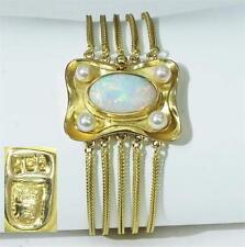 Tolles Armband mittig mit einem echten Opal + Zuchtperlen in 750 Gelbgold