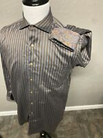 RARE Jaz Traced Fit Flip Cuff Paisley Striped Shirt. Men's Large Made in America