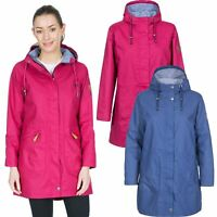 Trespass Womens Waterproof Jacket Longline Pink Navy Hooded Raincoat
