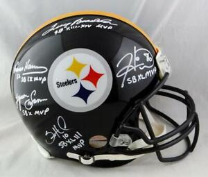 Pittsburgh Steelers SB MVPs Autographed F/S Authentic Helmet w/Insc - JSA W Auth
