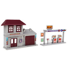 Gas Station HO Architecture Built Tabletop Plastic Building Diorama Scenery