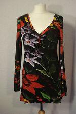 Desigual black floral print asymmetric jersey top M (10-12)