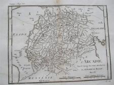 1700 S INCISIONE MAPPA della Grecia da viaggio di Anacarsi l'arcadie JEUNE