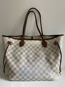 Used Louis Vuitton Neverfull MM Damier Azur Tote Shoulder Bag