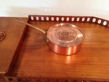 """Nice Used 10"""" Lidded Copper Saute Tin Lined By Baulmalu"""
