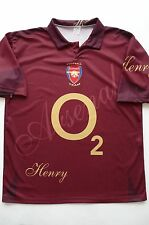 "BRITISH SOCCER CLUB ""ARSENAL"" O2  #14 HENRY 100% POLYESTER JERSEY sz L ITALY"