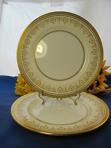 """AYNSLEY & Sons GOLD DOWERY Dinner Plates 10 1/2"""" Set Of 2 England EXC!"""