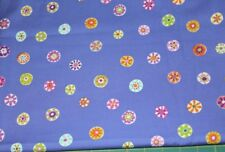 100 % Cotton fabric ~ Purple with multi colored flowers ~ BTY