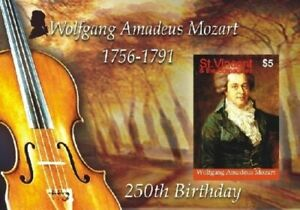 St. Vincent 2007 - SC# 3556 Wolfgang Mozart 250th Birthday, Composer - S/S - MNH