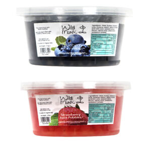 Wild Monk Blueberry and Strawberry Juice Pobbles Popping Boba Twin Pack 2x 450g
