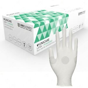 Unicare Powdered Latex Disposable Single Use Examination Gloves Box of 100
