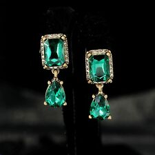 Rings`Ears CLIP Golden Square Drop Green Emerald Pear Class Marriage YW8