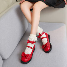 Women Bow Flat Lolita Mary Jane Shoes Sweet Cosplay Round Toe Buckle College
