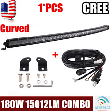 "37"" Inch 180W CREE CURVED Slim LED Light Bar Combo UTV Offroad Jeep+Wiring Kit"