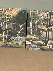 VINTAGE PAINT BY NUMBER / TREES / BIRCH IN FALL /ROCKS & STREAM / NATURE