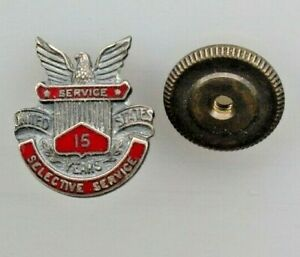 US SELECTIVE SERVICE  15 Years Service Pin Screw Back
