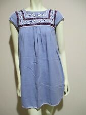 Anthropologie Holding Horses Chambray Blue Embroidered Cap Sleeve Shift Dress 0