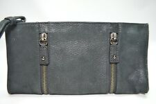 4049d696696 Cole Haan Maria Sharapova Black Shimmer Pebbled Leather Zipper Clutch  Wristlet