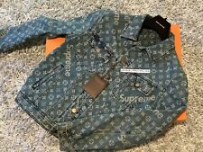 LOUIS VUITTON X SUPREME DENIM TRUCKER JACKET 48 M S FW17 BOX LOGO MONOGRAM LV