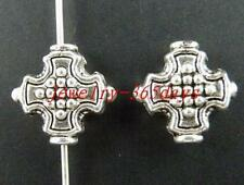 60pcs Tibetan Silver Cross Shaped Spacers 12x13x5mm 10142