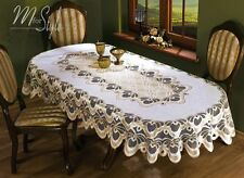 """Oval Tablecloth Heavy Lace Natural Golden Beige Large Premium Quality 55"""" x 98"""""""