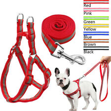 Step In Dog Harness Leash Nylon Reflective Adjustable for French Bulldog Black
