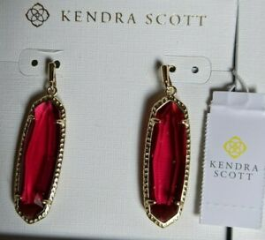 Kendra Scott Layla Earrings - Berry Red/Gold - NIB