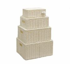 Storage Hamper Basket White Set Of 4 Paper Rope With Lid By Arpan