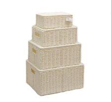Blanc lot de 4 papier corde de conservation panier à linge panier avec couvercle pour stockages wb - 9690S4