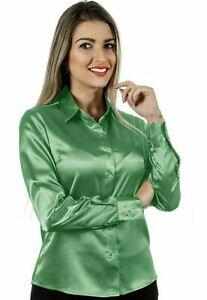Women Satin Casual Office Shirt Button Down Solid Collar Blouse - Light Green