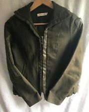 M. FIGO Combat/Military Style Fitted Jacket Size L Leather Accent Zipper  Front