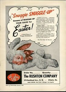 1954 PAPER AD Rushton Snuggie Snuggle Up Plush Stuffed Easter Bunny Toy