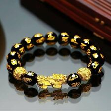 Feng Shui Black Obsidian Alloy Wealth Bracelet w/Golden Pixiu Lucky Jewelry Gift