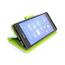 CoverON® For Sony Xperia Z3V Wallet - Light Blue & Neon Green Credit Card Folio