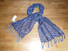 ~~by S. OLIVER~~  Halstuch * Schal, blau-gemustert, Fransen & Perlen, NEU!