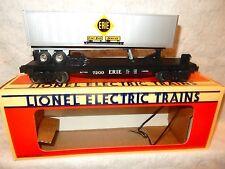Lionel #6-19415 Erie flat car with trailer on board- O gauge-sprung tks-never rn