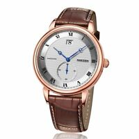 Classic Luxury Men Watch Business Quartz Date Leather Band Sapphire Crystal Dial