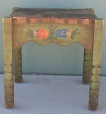 Antique Monterey Spanish Green Leather Top Vanity Bench W/Floral Decoration