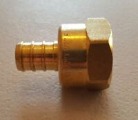 "10 PC. 1/2"" PEX X 1/2"" FEMALE NPT THREADED ADAPTER BRASS CRIMP FITTING LEAD FREE"