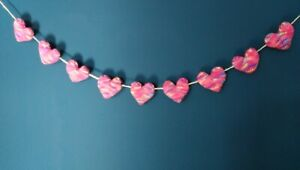 Pink /multi Rainbow Heart Bunting Mothers Day / wedding. Hand made 110cm