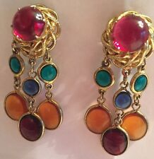 Schiaparelli Stunning Signed Vtg Jewel Gripoix Poured Glass Drop Clip Earrings