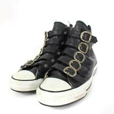 CHROME HEARTS SNEAKERS MEN CASUAL SHOES BLACK SILVER LEATHER 25.5CM HIGH USED