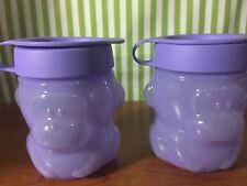 Tupperware New Monkey Snack Cups Set of Two 10oz Purple